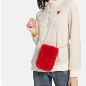Handbags - Red furry crossbody bag